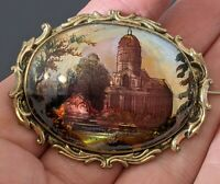 Antique Victorian Brooch Hand Painted Church scene on Mother of pearl Pinchbeck