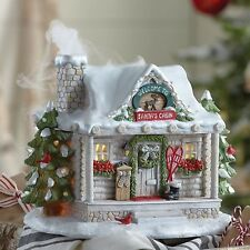 Lenox Santa's Lighted Log Cabin Centerpiece Chimney Smoke Led Christmas New