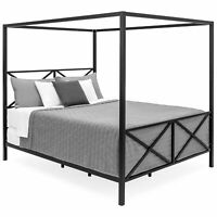 BCP Modern Metal 4 Post Canopy Queen Bed Frame