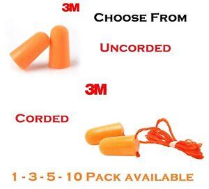 Genuine 3M Foam Earplugs Uncorded 1100 OR Corded 1110 Sound Hearing Sleep Work