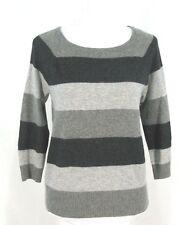 Cynthia Rowley Sweater Sz L Stripe Gray Wool Angora Pullover Top Large Womens