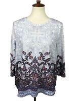 Talbots Women's Size L Floral Paisley Knit Top 3/4 Sleeve Slit Sides Casual