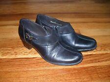 Clarks Bendables Wish Aspire Black Nubuck Leather Shoes Booties Sz 7.5M 89126