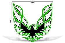 """42"""" X 42"""" Firebird Hood Graphic Decal Sticker For Pontiac Trans Am GREEN BLACK"""