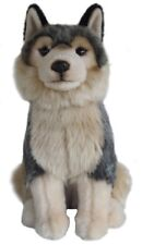 """Grey Wolf Cuddly 12"""" quality collectable hand made toy wolf"""
