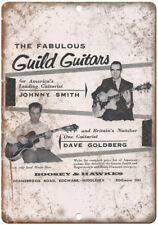 "Guild Guitars Johnny Smith Boosey & Hawkes Ad 10""X7"" Reproduction Metal Sign R12"