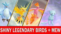 Pokemon Let's GO Shiny Articuno, Moltres, Zapdos & Shiny Mew [ 6 IV ] Legendary