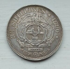 Rare Silver 2 1/2 Shillings Half Crown South Africa 1896