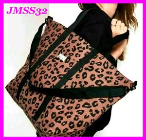 Victoria's Secret Pink Large Zip Top Tote Bag Cocoa Powder Leopard NIP