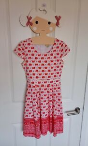 BNWT YUMI GIRL RED/WHITE INDIAN ELEPHANT DRESS - AGE 11-12 PARTY/SPECIAL/WEDDING