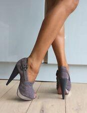 Kg Kurt Geiger Grey Suede Studded Peep Toe Platform High Heels 7 40