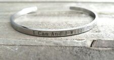 Quote Bracelet Cuff Bracelet Bangle Stainless Steel I CAN AND I WILL Bracelet