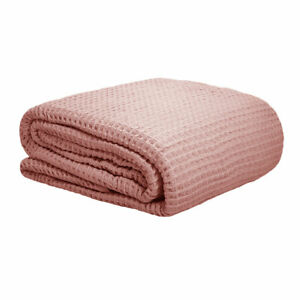 300GSM 100% Cotton Waffle Blanket Dusty Pink