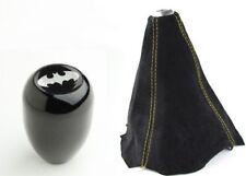 M12x1.25 Black Manual Gear Shift Knob + Batman Emblem + Yellow Stitch Suede Boot