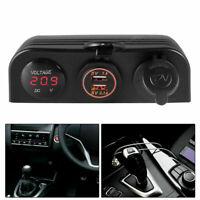 Dual USB Charger W/12V Cigarette Lighter Socket Voltmeter Panel Mount Car Marine