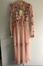ASOS FROCK AND FRILL Blush Pink Mesh Embroidered Floral Midi Dress Size 6 8