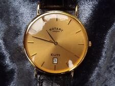 ROTARY  ELITE  18  CARAT  SOLID  GOLD  QUARTZ  WRISTWATCH  ROTARY LEATHER STRAP