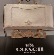 NWT COACH PLATINUM LIGHT GOLD CROSSGRAIN Leather Accordion Zip Wallet 54007