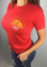 Vintage Women's M 80s Dance Fit Exercise Workout Gym Red Sun 50/50 T-Shirt