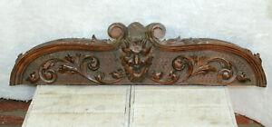 Antique black forest wood carved pediment fronton devil gothic castle head