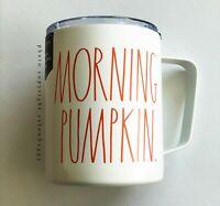 Rae Dunn Morning Pumpkin Stainless Steel Mug Ivory with Orange Letters Handle