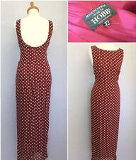 Hobbs Ladies Burgundy Red Cream Polka Dot Backless Fitted Maxi Dress Size 12
