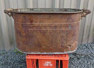 ANTIQUE ATLANTIC COPPER BOILER RUSTIC WASH TUB WOODEN HANDLED PLANTER 26x13x13