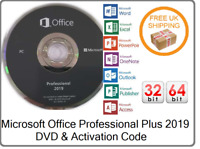 New Microsoft Office Pro Professional Plus 2019 License Key & DVD 1PC 32/64 Bit