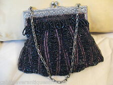 Antique Art Nouveau Floral Frame Brown Knit Crochet Jet Black  Bead Fringe Purse