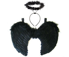 Black Angel Fairy Feather Wings & Halo Dark Fancy Dress Gothic Halloween Costume