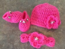 Crochet Hat Headband & Booties Set newborn - 3 month baby Photo Prop Gift Roses