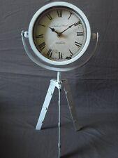 Tischuhr RICHARD WARD mit Stativ Metall - Weiß Retro Vintage Stil Uhr Kaminuhr