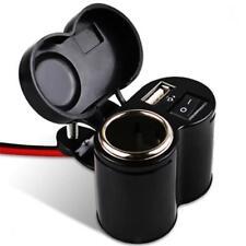 Waterproof Motorcycle Car Cigarette Lighter Power Socket USB Charger 12v-24v