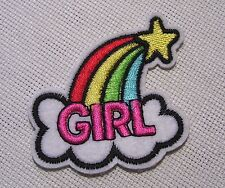 ÉCUSSON PATCH BRODÉ thermocollant - ARC en CIEL NUAGE ÉTOILE GIRL ** 5 x 6 cm **
