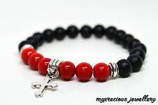 Bracelet Mens Boys Natural Gemstone Red Coral Black Onyx Beaded Stone Cross UK