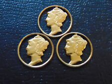 """3 CUT OUT MERCURY DIMES / """"GOLD  PLATED"""" / GREAT FOR JEWELRY / STK #7622"""