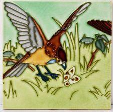 Alte Reliefkachel Wandkachel Kachel Fliese um 1900 Vogel Schmetterling 15x15cm