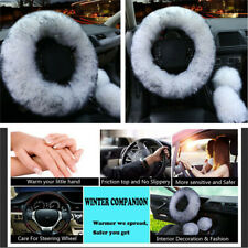 3Pcs Fur Car Steering Wheel Cover Mature Gem Gray Wool Furry Fluffy Thick Winter