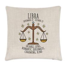 Libra Horoscope Linen Cushion Cover Pillow - Horoscope Star Sign Zodiac Birthday