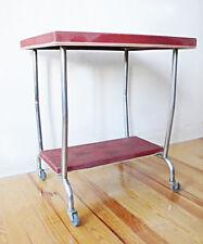 TABLE DESSERTE A ROULETTES STRUCTURE METAL CHROME VINTAGE LOFT DESIGN INDUSTRIEL