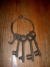 CAST IRON Large Ring with Five Jailer Keys Rustic Brown  WESTERN DECOR