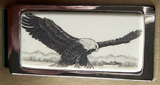 Money Clip Barlow Scrimshaw Carved Painted Eagle Landing Hinged Silver 526141
