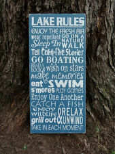 Blue Shabby Cottage Lake Rules Cabin Lodge Sign Decoration Fathers Mens Gift