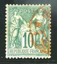 "FRANCE N° 65  ""  SAGE  10c  VERT CACHET ROUGE  "" TB."