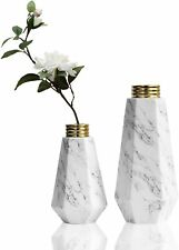 Ceramic Vase for Flowers, Set of 2 Decorative White Vases with Marble Texture An