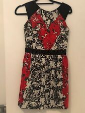 Size 10 Warehouse Red And Black Baroque Pattern Fit And Flare Skater Style Dress