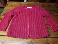 ALFRED DUNNER Women's Blazer Jacket Long Sleeve Open Front Red Petite Size 12P