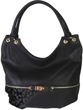 Faux Leather Patch of Leopard Print Shoulder Bag Hobo Purse Handbag