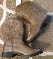 Youth Girls/Boys Faded Glory Cowboy Western Brown Boots Kids Size 4~NEW