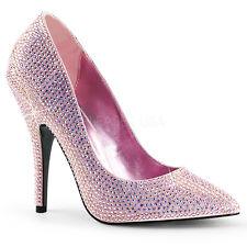 "Seduce 420RS Baby Pink Satin Rhinestone covered pointed toe 5"" Heel Size 11 Shoe"
